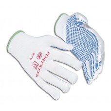 A110 White Nylon Polka Dot Grip Glove
