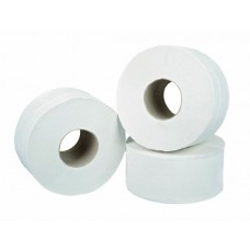 "White 2 ply Mini Jumbo 3"" core Toilet Roll 150 metre (x12)"
