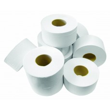 "White 2 ply Mini Jumbo 2 1/4"" Core Toilet Roll 150 metre"