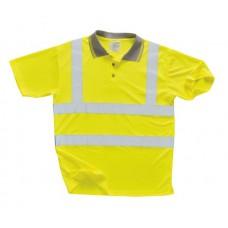 Hi Vis Yellow En471 Polo Shirt 100% Polyester Size M,L,XL,XXL,XXXL
