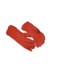 Red Leather Lined Welders Gauntlet