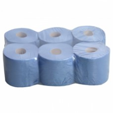 Economy Blue Centrefeed 2 ply Paper Rolls  x6