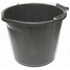 Black PVC Builders Bucket 15 Litre